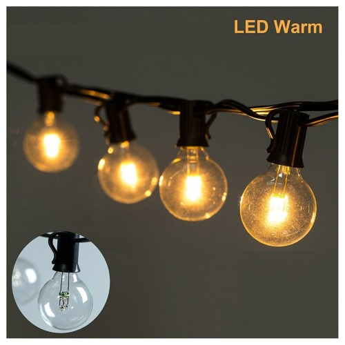 Led g40 string lights with 25 led warm globe bulbs ul listed for 25ft led g40 string lights with 25 led warm globe bulbs ul listed for indooroutdoor aloadofball Image collections